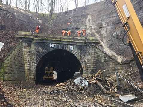 Network Rail engineers work non-stop to reopen Yorkshire rail line closed by landslip 2