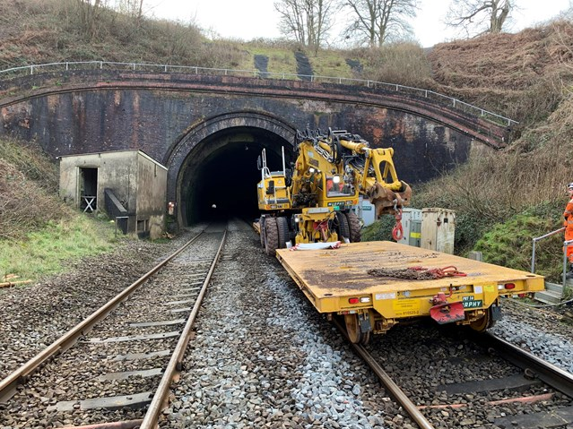 Railway reopens thanks to the help of Ivy and Holly the robots: Whiteball Tunnel