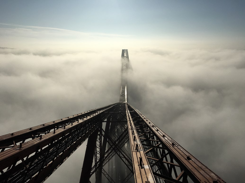 Forth Bridge offers platform to celebrate Queensferry Crossing: Forth Bridge in fog (2)