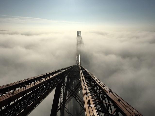 Forth Bridge offers platform to celebrate Queensferry Crossing: Forth Bridge in fog (2)