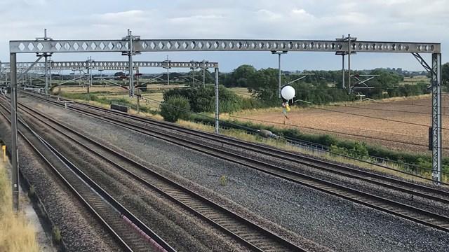 Helium balloon halts trains on West Coast main line