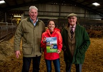 Venison Partnership Downfield016: From L to R:  Bob Prentice, Downfield Farms;   Marie Goujon, Minister for Rural Affairs and the Natural Environment;   Bill Bewsher, Chairman, Scottish Venison  Partnership