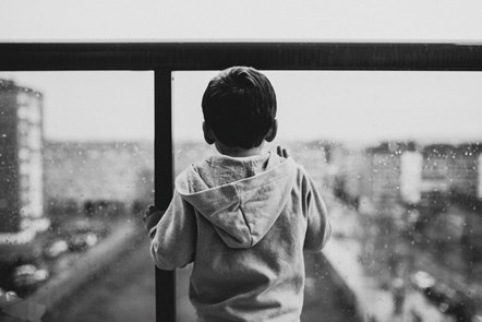 child in window monochrome-2