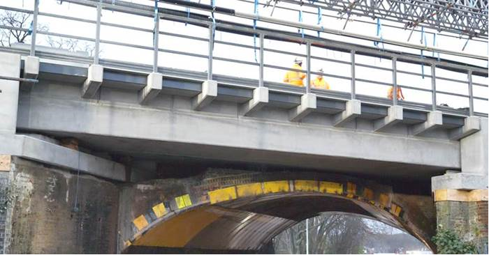Major railway improvements completed on time in Sussex and south London as part of a multi-billion pound Railway Upgrade Plan: Sanderstead Road railway bridge