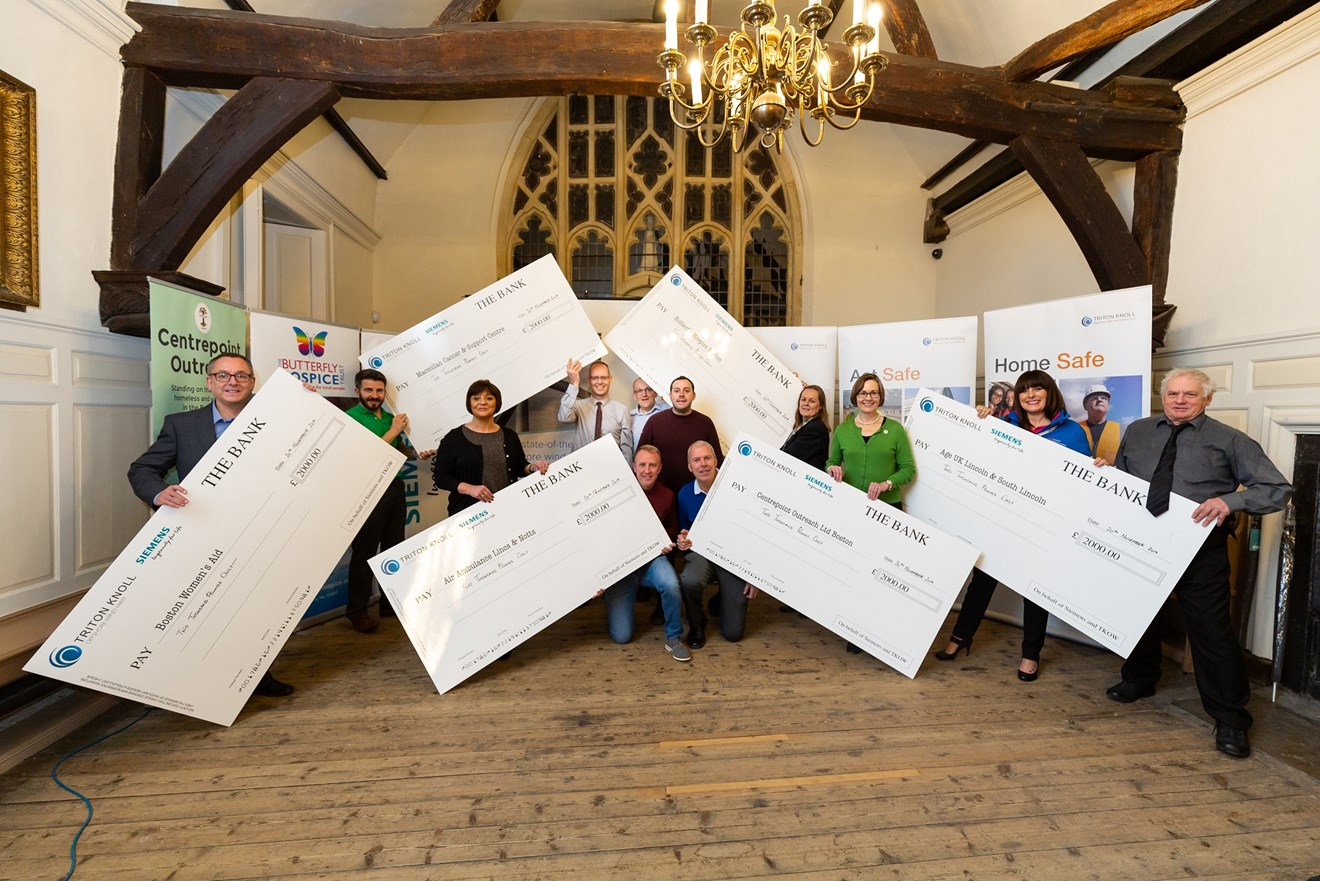 Triton Knoll Offshore Windfarm donates vital funds to Lincolnshire Charities: Charities celebrate safety donations 221119 WEB