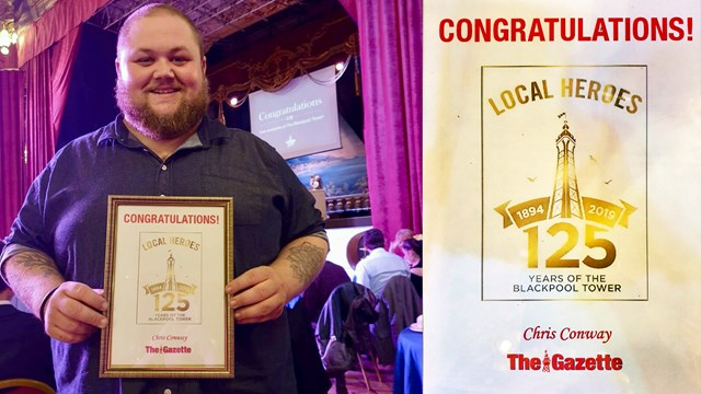 Chris Conway receiving award at Blackpool Gazette's 'Local Heroes' ceremony