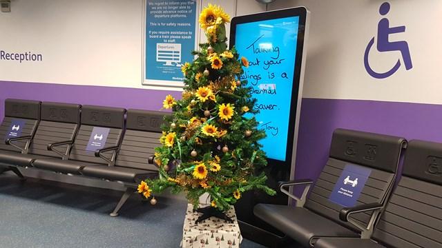 Euston station 'sunflower' Christmas tree in station reception