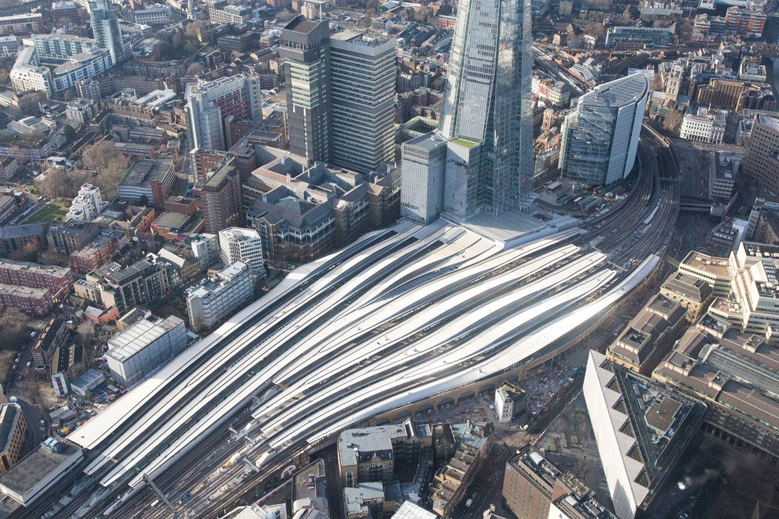 Aerial Dec 26 - London Bridge landscape: London Bridge from the air, a few days before final opening