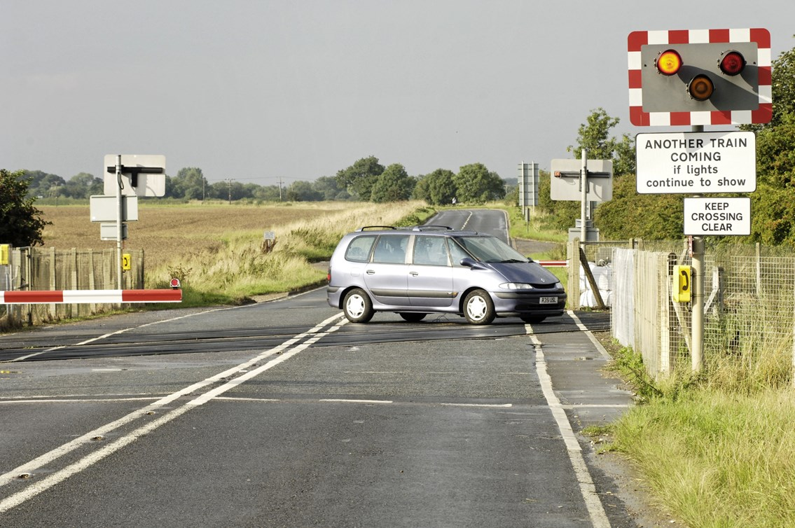 Top Gear - the car: A car sits on a level crossing
