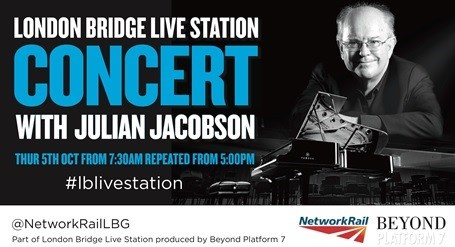 London Bridge turns concert hall as top classical pianist plays for passengers: Julian Jacobson Poster