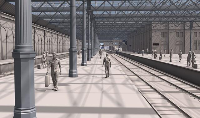 Waverley Platforms 5&6 looking west towards main concourse
