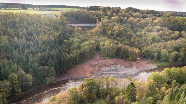 Stunning aerial shots reveal size and scale of Settle-Carlisle land slip repair: Aerial view of Eden Brows. settle line running above the River Eden..-5