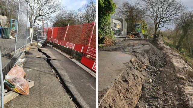 Homes evacuated from trackside landslip by quick thinking railway workers: Upholland landslip before and after composite Feb March 2020