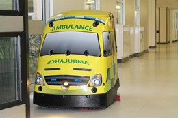 The robot cleaner, launched last month, is custom-made for the hospital and in the shape and appearance of an ambulance.: The robot cleaner, launched last month, is custom-made for the hospital and in the shape and appearance of an ambulance.