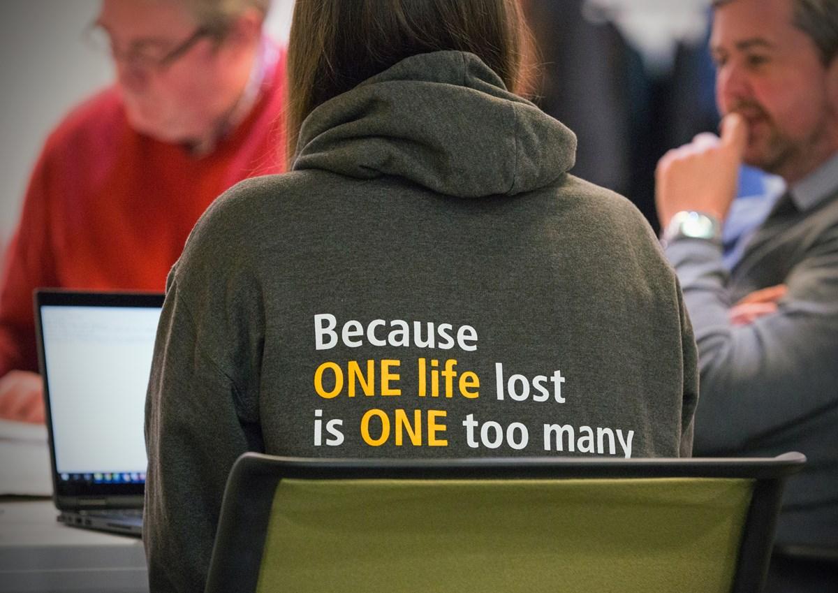 Zero Suicide Alliance slogan: Zero Suicide Alliance back of hoodie
