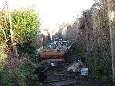 Fly-tipped rubbish in Harwich