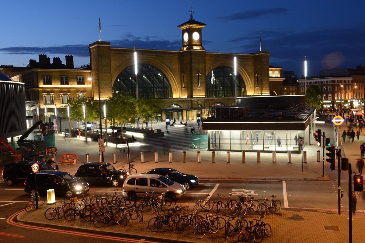 London Kings Cross station at night