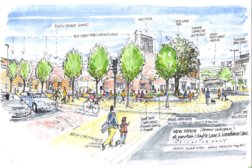 Key Leeds city centre gateway set to be given people-friendly new look: claypitlanespaceimprovement-sketches-higher-res.jpg