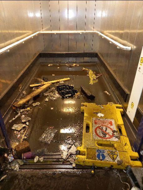 Inside flooded lift at Preston station