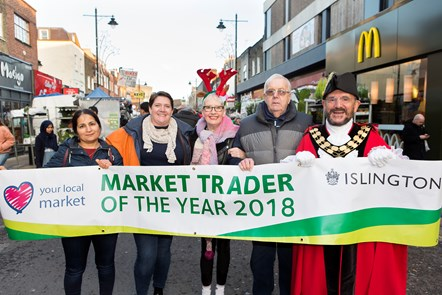 Last year's winners with 2018 Mayor of Islington Cllr Dave Poyser, and actress and award presenter Su Pollard: 2018 Market Trader of the Year winners (from left): Serpil Erce, Jo Coote, comedy actress Su Pollard, David Brastock, and the 2018 Mayor of Islington Cllr Dave Poyser.