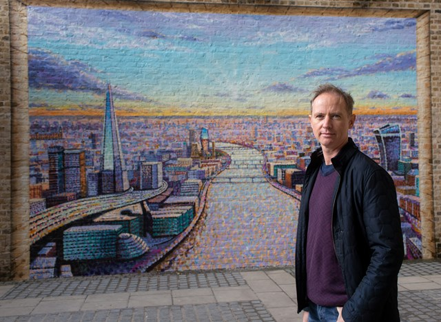 Artist Jimmy C with his work at Blackfriars: Artist Jimmy C with his work at Blackfriars