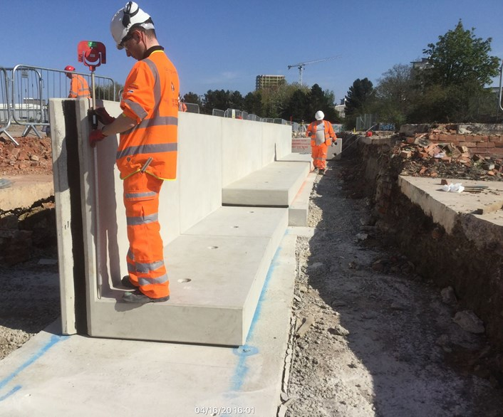 First precast units in position City Reach