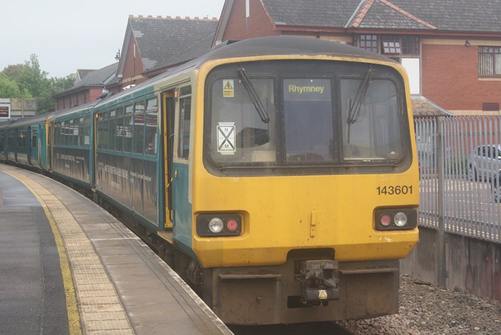 Class 143 Pacer 143601 at Penarth, 28 May 2021