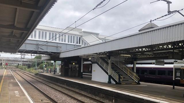 Revamped Nuneaton station footbridge from platform level