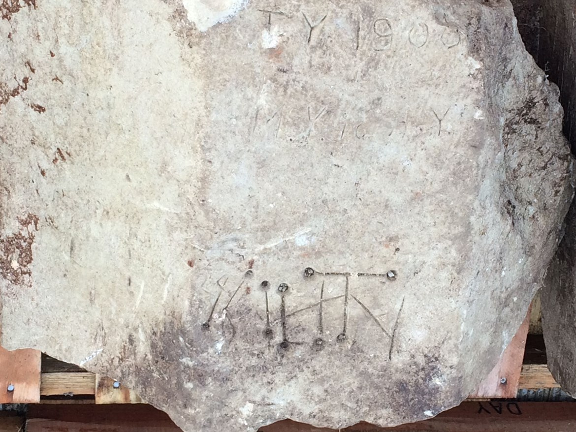 St Mary's Graffiti October 2020: Credit: HS2 Ltd (Arcehology, Stoke Madeville, Buckinghamshire, medieval, heritage, witching)