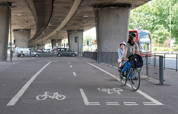 TfL Image - Safer cycle route through Angerstein roundabout as part of C4 extension