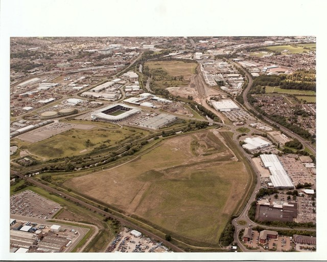 Aerial view of the Derby Triangle Development site