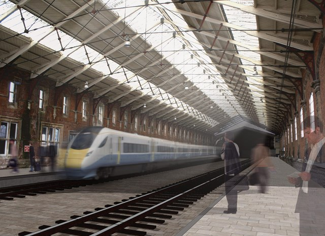 Artist impression of proposed additional platforms at Bristol Temple Meads: Proposal to redevelop Bristol Temple Meads