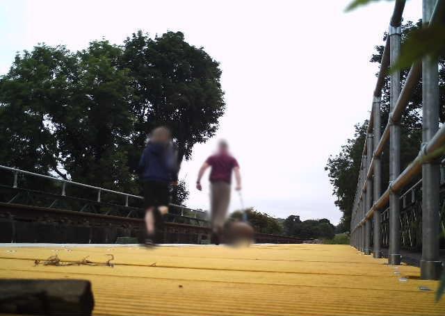 Man and child trespassing on railway bridge