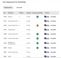 Southeastern launches SeatFinder to enable social distancing on trains: Tonbridge - initial results