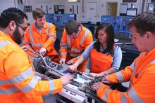 Network Rail apprentices in the workshop: Network Rail apprentices in the workshop