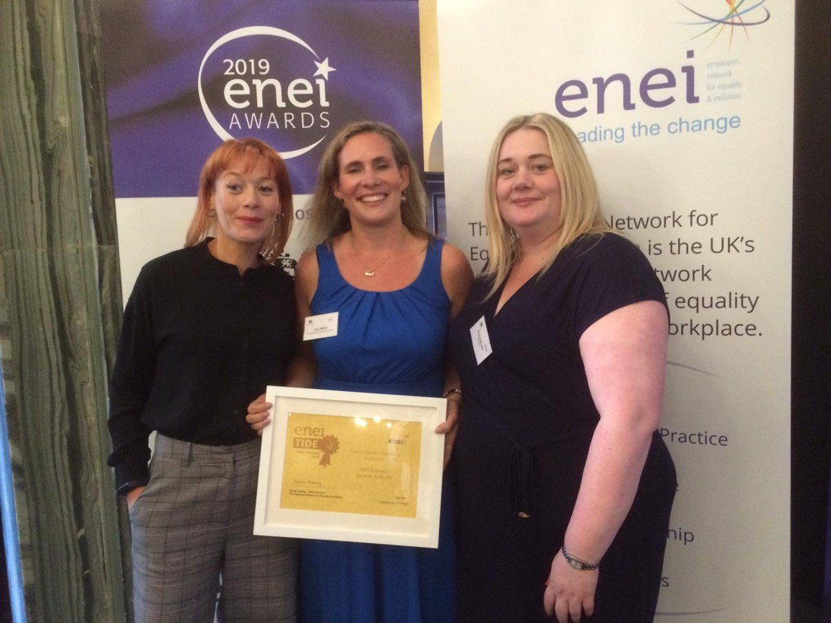 Enei Awards: Left to right: Mel Maughan, Jane Miller and Rachel Brown from NHSBSA's Wellbeing and Inclusion Team pictured with the gold award last year.