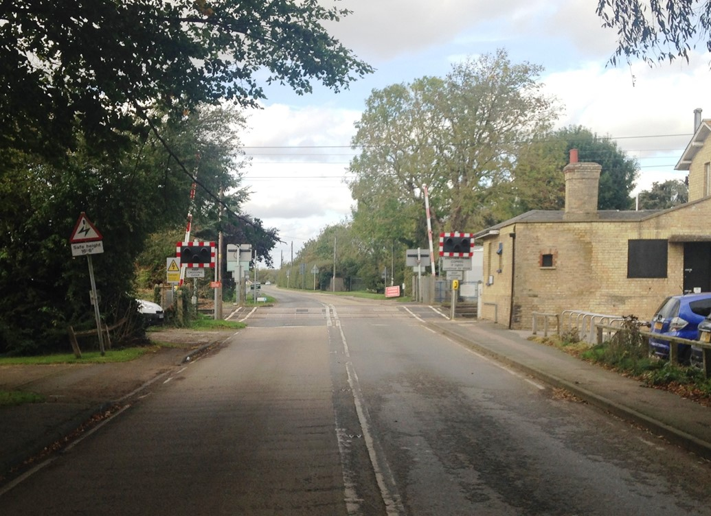 Cambridgeshire level crossing set for safety upgrade: Shepreth level crossing upgrade (before)