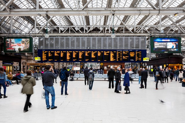 Passengers reminded to 'check before you travel' this Easter: Glasgow Central - departure boards, concourse