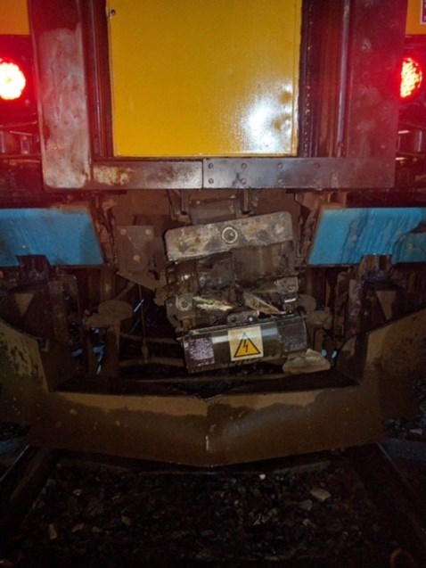 A damaged Arriva Trains Wales carriage