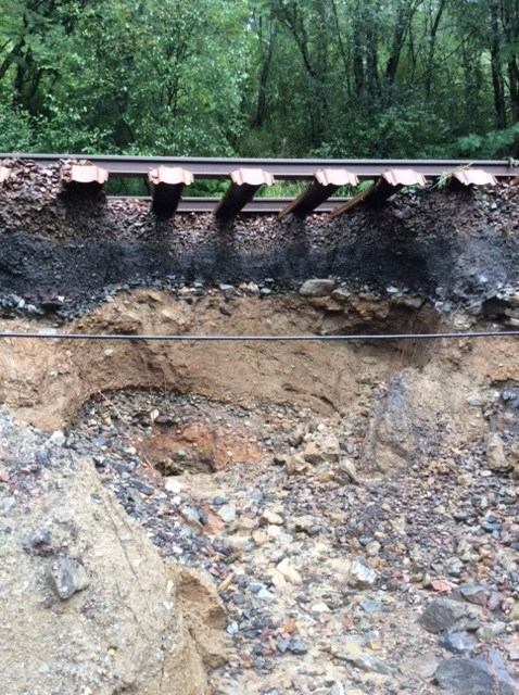Flood repairs for West Highland line: West Highland line - track washout between Ardlui and Crianlarich, August 5, 2019