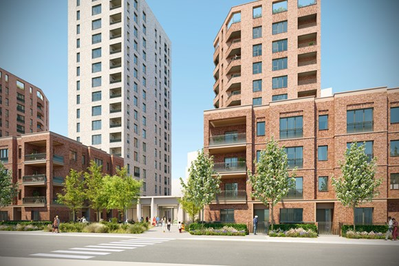 Connected Living London Press Release - New rental homes by Southall station given the green light: Assael Architecture Image - CLL Southall Development CGI