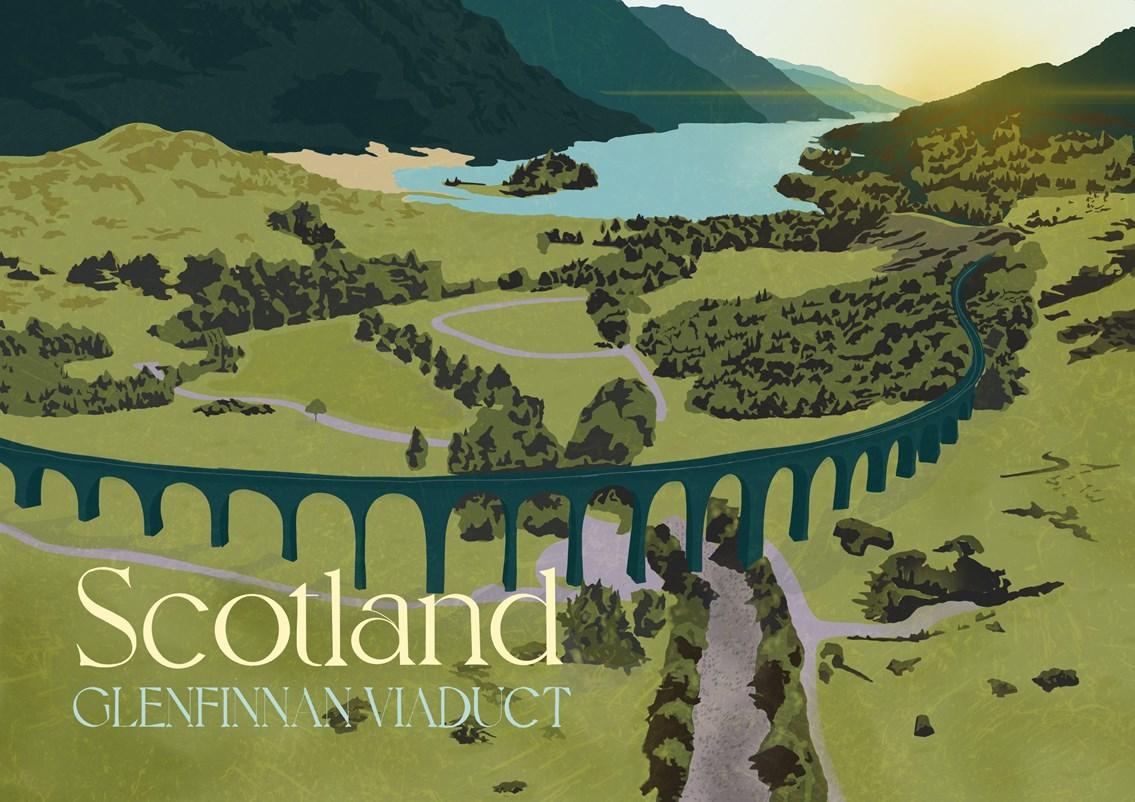 Network Rail launches art exhibition celebrating rail travel: Glenfinnan Viaduct-2
