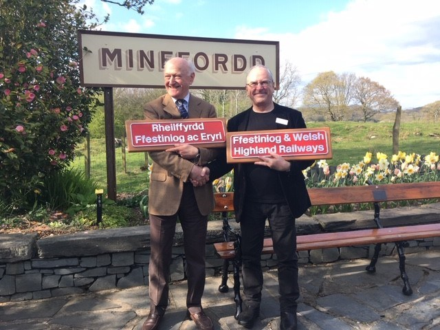 Train-naming honours Network Rail's partnership with Ffestiniog & Welsh Highland Railways: Dr John Prideaux Chair of Ffestiniog Railway (left) with Sir Peter Hendy CBE chair of Network Rail (right)