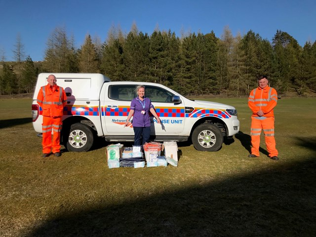 Network Rail workers in North East donate PPE to support the NHS during COVID-19 crisis: Left to right: Craig Jackson (Hexham Mobile Operations Manager), Laura Seaton (Nurse Practitioner at Hexham General Hospital), Jamie Seaton (Signaller and Crossing Keeper)