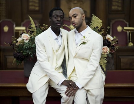 Lookbook p33: Chris Francisco, left, and Dylan Ramsay model wedding suits in one of the images from the #FRFV lookbook.