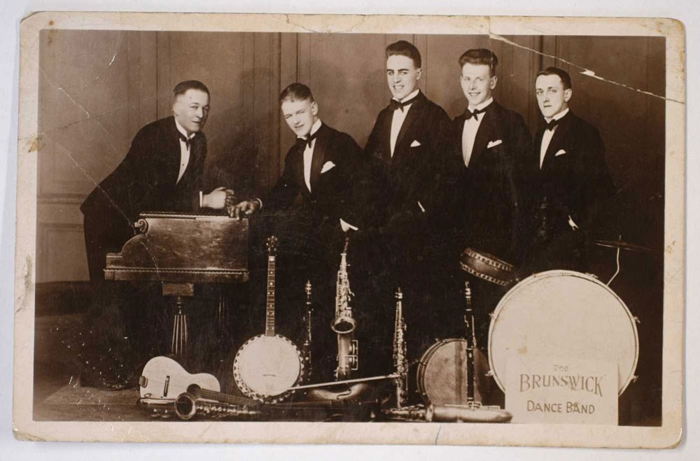 Sounds of Our City: Photograph of The Brunswick Dance Band, based in Morley, 1920s.