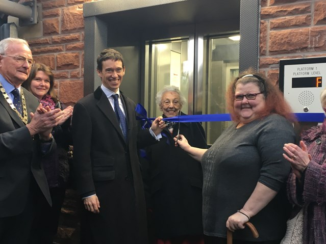 New lifts and footbridge means 'Access for All' at Penrith station: Rory Stewart MP, Mike Tonkin chair of Eden District Council, Yvonne South from the Eden mobility passenger group, and Lorna Shaw, a local user of Penrith station