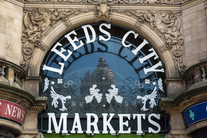 Council reaffirms its wide-ranging support for market traders as city continues to tackle challenges of coronavirus: Leeds Kirkgate Market front entrance