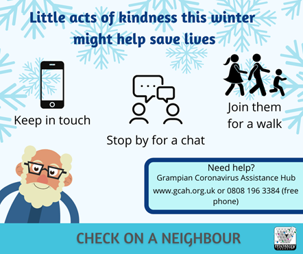 check on a neighbour graphic - cartoon elderly man. Keep in touch. Stop to chat. Go for a walk.