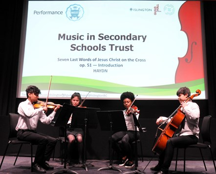 Music Education Islington launch event 2: The Music in Secondary Schools Trust Saturday School Quartet performing at the launch